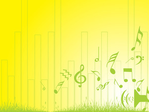 Music Notes And Grass On Yellow Background Wallpaper
