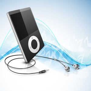 Music Player With Headphone On Blue Waves Background.