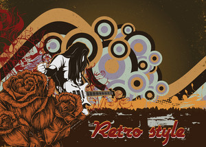 Music Poster With Rock Star And Roses Vector Ilustration