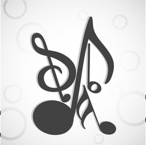 Music symbols on grey background