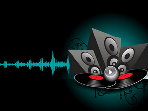 Abstract musical concept with loud speakers