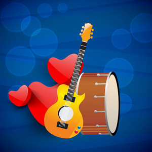 Abstract musical concept with heart and music instrument