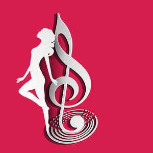 Abstract musical concept with music symbol and dancing girl