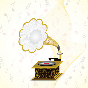 Abstract musical concept with gramophone