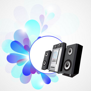 Abstract musical concept with loud speaker