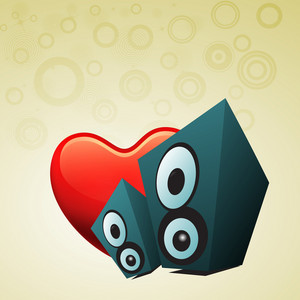 Abstract musical concept with loud speaker and heart shape