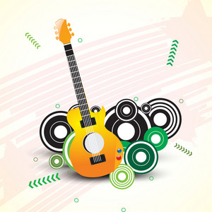 Abstract musical concept with musical instruments