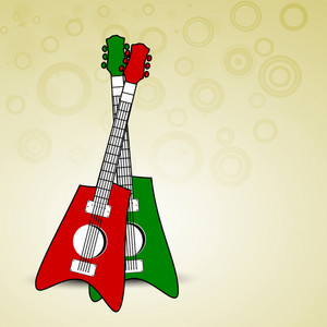 Abstract musical concept with colorful guitars
