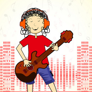 Abstract musical concept with young singer and guitarist on high volumn  background