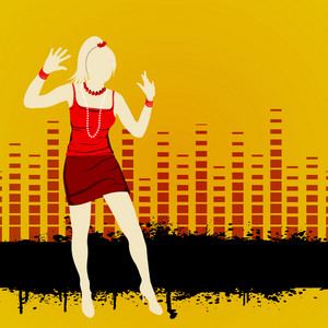 Abstract musical concept with disco girl on high volumn background