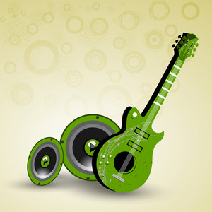 Abstract music background with guitar and sounds