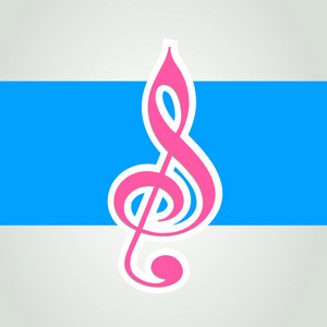 Musical note on blue background
