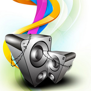 Vector illustration for musical theme with speakers on colorful design