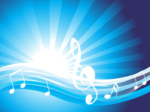 Musical Background In White And Blue