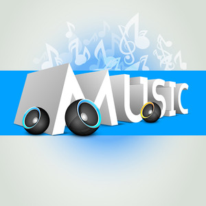 Musical Background With Music Notes And Speaker