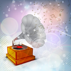 Musical Background With Music Notes Coming Out From Gramophone
