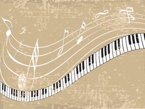 Musical background with nodes and keyboard on brown background.