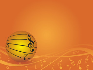 Musical Ball Isolated On Orange Background