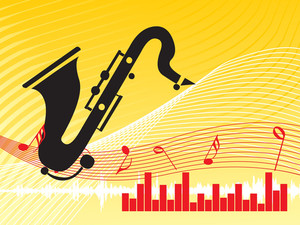 Musical Composition Graph And Instrument On Yellow Background