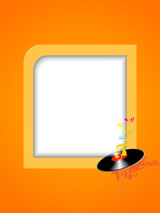 Musical concept with disc and frame on yellow abstract background.