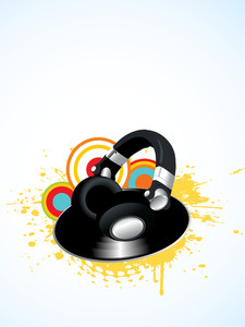 Musical concept with disc and headphone on grey abstract background.