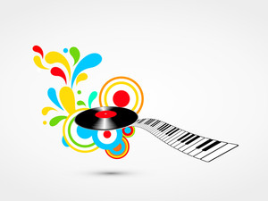 Musical concept with disc and key board on floral design decorated grey background.