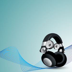 Musical concept with headphone and waves on blue background.