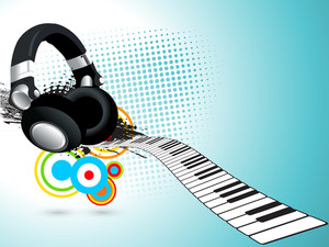 Musical concept with headphone aon keyboard on skyblue background.