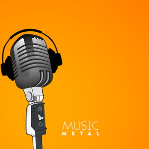 Musical concept with mike and headphone on bright yellow background.
