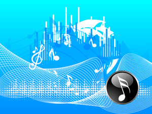 Musical concept with musical nodes on waves decorated blue background.
