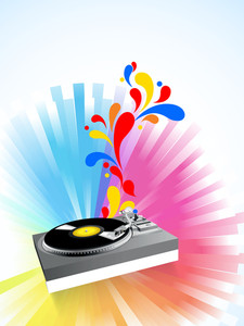 Musical concept with musical player and floral design on colorful abstract background.