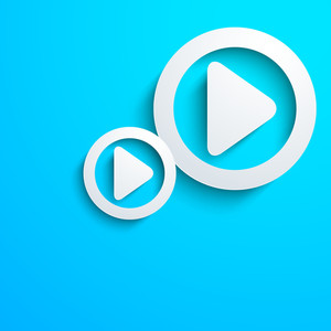 Musical Concept With Play Button On Blue Background