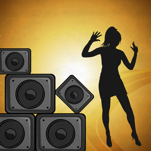 Musical concept with silhouette of a dancing girl and loud speakers