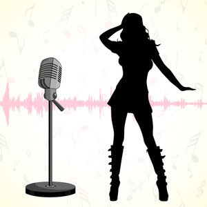 Musical concept with silhouette of dancing disco girl and mike on abstract background