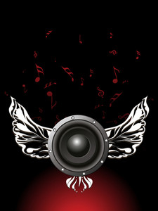 Musical concept with sound and wings