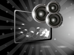 Musical concept with sounda and glass frame on grey background.