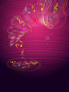 Musical concept with waves on shiny pink background.