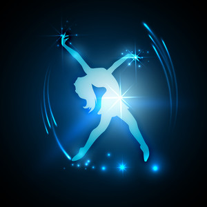 Musical Dance Party Background. Flyer Or Banner With Paper Cut Out Design Of A Dancing Girl On Blue Background.