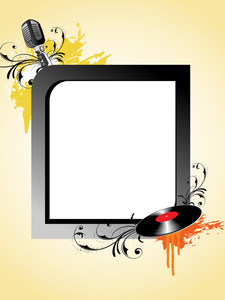 Musical frame decorated with mike and disc on abstract background.