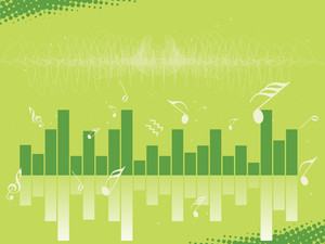 Musical Graph And Green Background