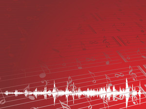 Musical Graph And Tune On Red Background