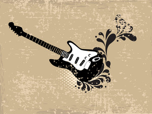 Musical guitar on floral decorated brown background.