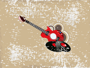 Musical guitar on grungy brown background.