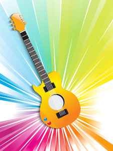 Musical guitar on shiny abstract background.