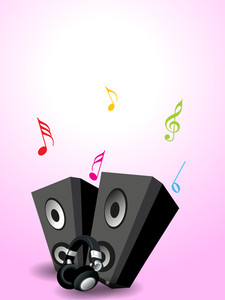 Musical loud speaker on shiny pink decorated background.