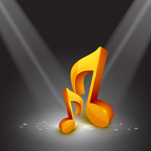 Musical note on beautiful grey background