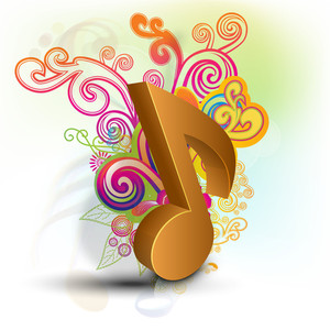 Musical note on floral background