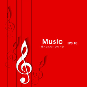 Musical Note On Red Background