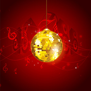 Musical Notes Background With Disco Ball.