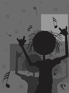 Musical Notes Background With People